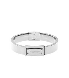 Silver-Tone Engraved Plaque Bracelet
