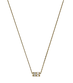 Pavé-Embellished Gold-Tone Barrel Pendant Necklace