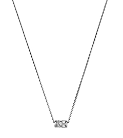 Pavé-Embellished Silver-Tone Barrel Pendant Necklace