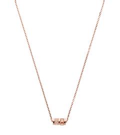 Pavé-Embellished Rose Gold-Tone Barrel Pendant Necklace
