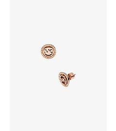Logo Rose Gold-Tone Stud Earrings