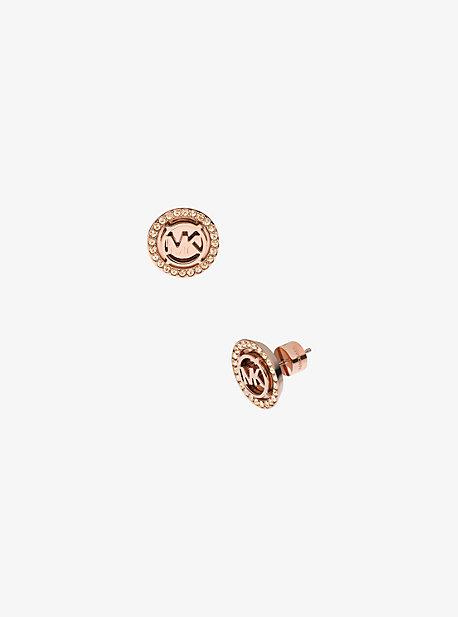 Logo Rose Gold-Tone Stud Earrings
