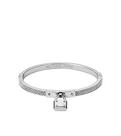 Pavé-Embellished PadLock Silver-Tone Bracelet