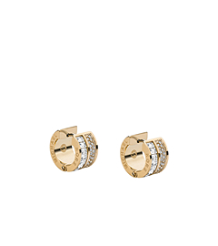 Baguette and Pavé-Embellished Gold-Tone Earrings