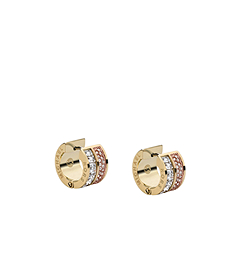 Baguette and Pavé-Embellished Gold and Rose Gold-Tone Earrings