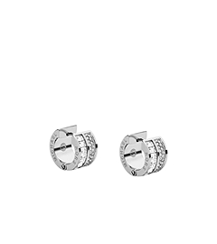 Baguette and Pavé-Embellished Barrel Silver-Tone Earrings