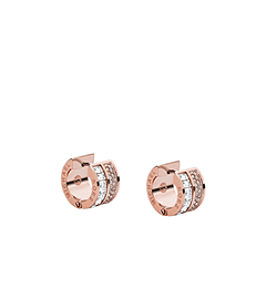 Baguette and Pavé-Embellished Rose Gold-Tone Earrings