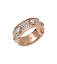 Pavé -Embellished Studded Rose Gold-Tone Ring