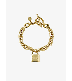Chain-Link PadLock Gold-Tone Toggle Bracelet