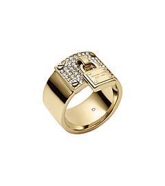 Gold-Tone PadLock Charm Ring