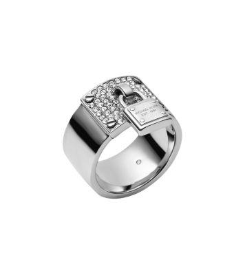 Silver-Tone PadLock Charm Ring by Michael Kors