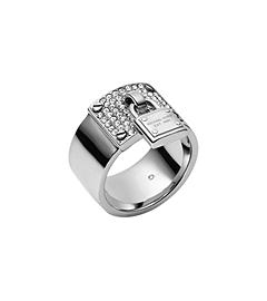 Silver-Tone PadLock Charm Ring