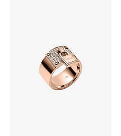 Rose Gold-Tone PadLock Charm Ring