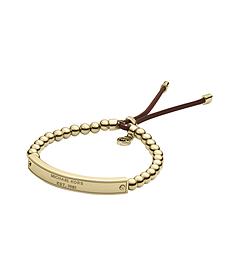 Gold-Tone Logo Plaque Bead Bracelet