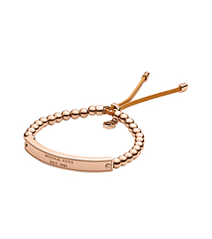 Logo Plaque Rose Gold-Tone Bead Bracelet