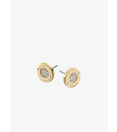 Pavé-Embellished Logo Gold-Tone Earrings