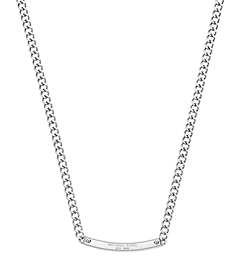 Pavé-Embellished Silver-Tone Reversible Plaque Necklace