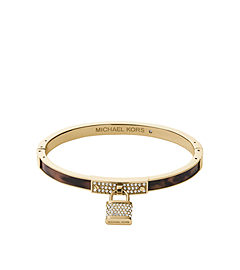 PadLock Charm Gold-Tone Tortoise Acetate Bangle