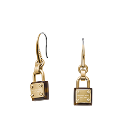 Gold-Tone PadLock Drop Earrings