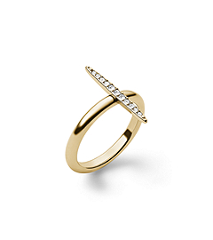 Matchstick Pavé-Embellished Gold-Tone Ring