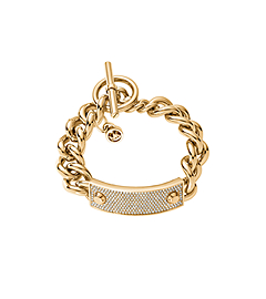 Pavé-Embellished Studded Gold-Tone Toggle Bracelet
