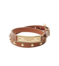 Studded Double-Wrap Leather Bracelet