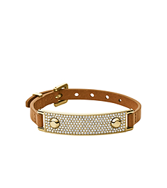 Pavé-Embellished Plaque Leather Bracelet