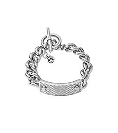 Pavé-Embellished Studded Silver-Tone Toggle Bracelet