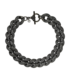 Pavé-Embellished Black-Tone Chain-Link Necklace