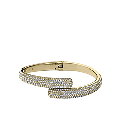Pavé-Embellished Gold-Tone Hinge Bangle