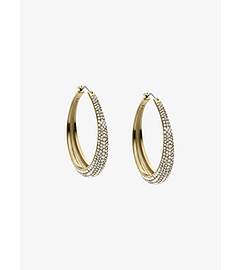 Pavé-Embellished Gold-Tone Earrings