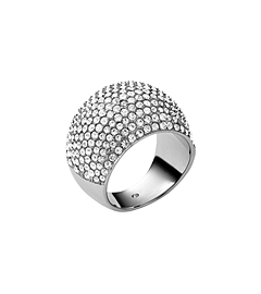 Pavé-Embellished Silver-Tone Dome Ring