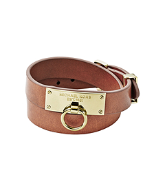 Plaque-Embellished Double-Wrap Leather Bracelet