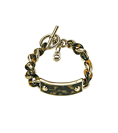Tortoise Plaque and Gold-Tone Chain-Link Bracelet
