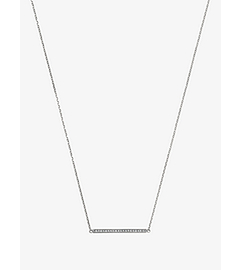 Pavé-Embellished Silver-Tone Pendant Necklace