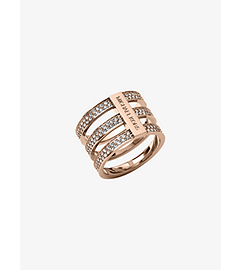 Pavé-Embellished Rose Gold-Tone Ring