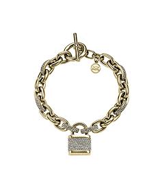 Pavé-Embellished Gold-Tone PadLock Bracelet
