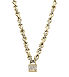 Pavé-Embellished Gold-Tone PadLock Necklace