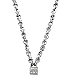 Pavé-Embellished PadLock Silver-Tone Chain-Link Necklace
