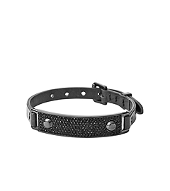 Pavé-Embellished Plaque Leather Buckle Bracelet
