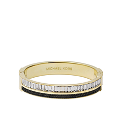 Pavé-Embellished Black and Gold-Tone Bangle