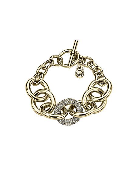 Pave Chain-Link Toggle Bracelet
