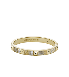 Pavé-Embellished Studded Gold-Tone Bangle