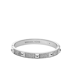 Pavé-Embellished Studded Silver-Tone Bangle