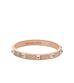 Pavé-Embellished Studded Rose Gold-Tone Bangle