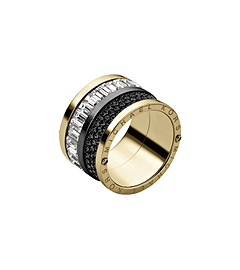 Pavé-Embellished Gold-Tone Barrel Ring