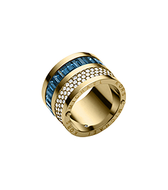 Pavé-Embellished Gold-Tone Baguette Barrel Ring