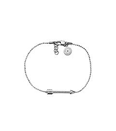 Pavé-Embellished Silver-Tone Arrow Line Bracelet