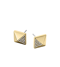 Pavé-Embellished Gold-Tone Pyramid Earrings