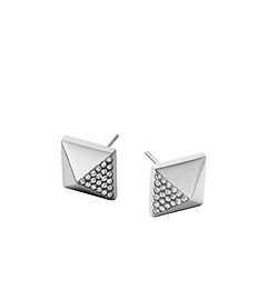 Pavé-Embellished Silver-Tone Pyramid Earrings